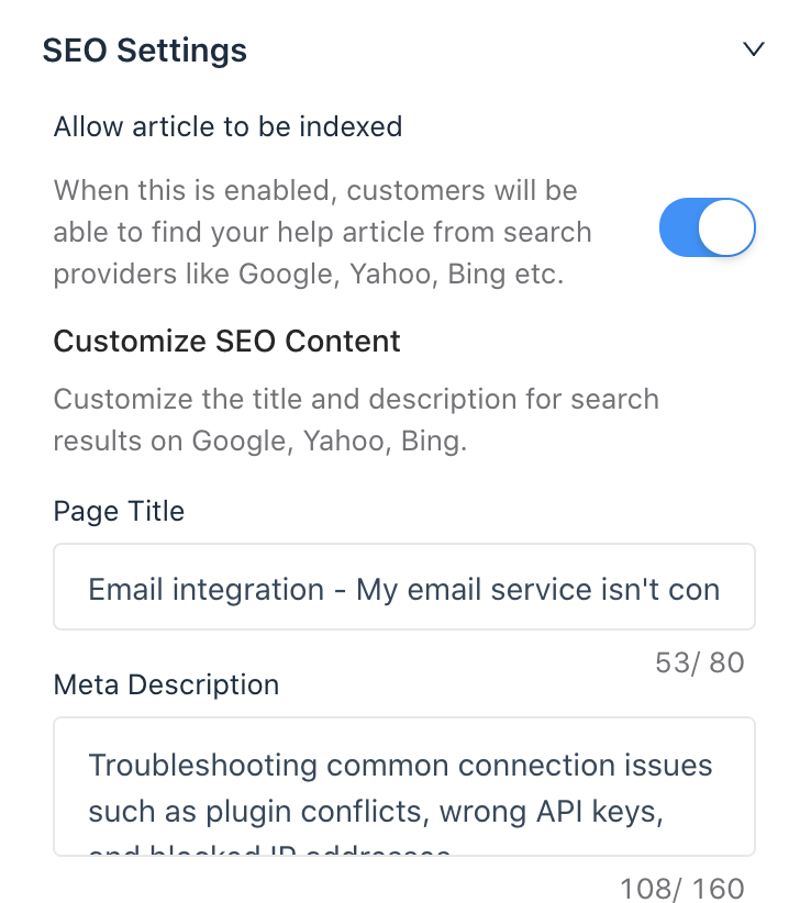 Gist SEO settings for docs